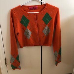 Argyle crop cardigan cashmere